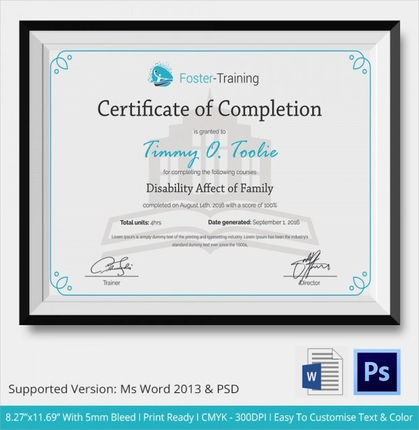 26+ Sample Certificate of Completion Templates Sample Templates - certificate of completion template word