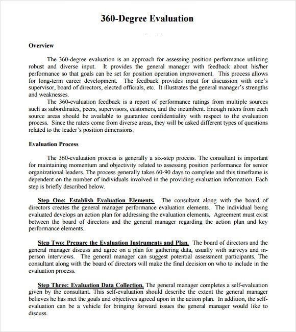 Sample 360 Evaluation - 6+ Documents in Word, PDF
