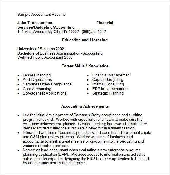 Accounting Resume - 9+ Free Samples , Examples , Format - cost accountant resume