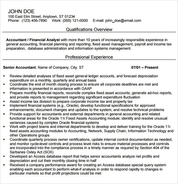 Accounting Resume - 14+ Free Samples , Examples , Format