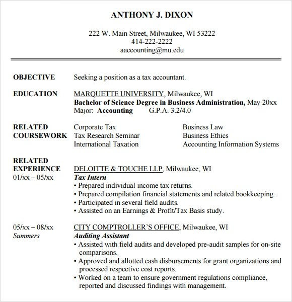 Accounting Resume - 9+ Free Samples , Examples , Format - accounting student resume