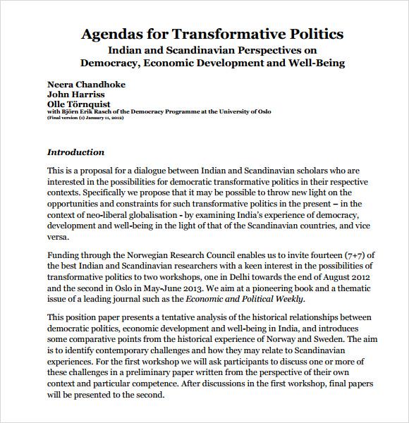 Political Agenda Template Agendas For Transformative Politics