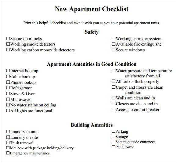 8+ New Apartment Checklist Samples Sample Templates - sample new apartment checklist