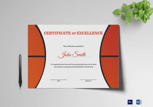 basketball certificates free download