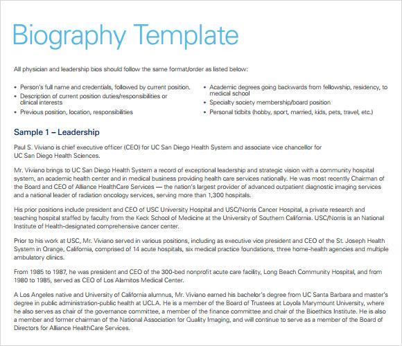 dentist biography template