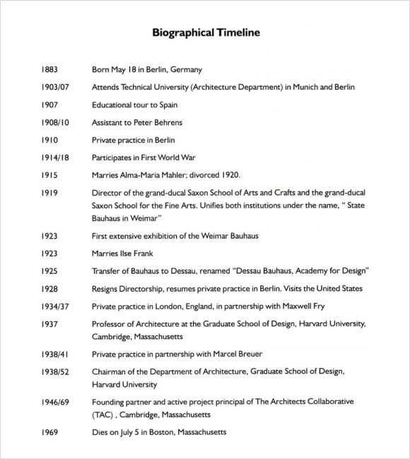 8 Biography Timeline Templates \u2013 Samples , Examples  Format