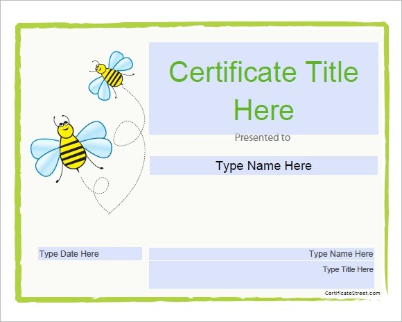 10 Certificate Templates for Kids \u2013 Free Samples, Examples, Format