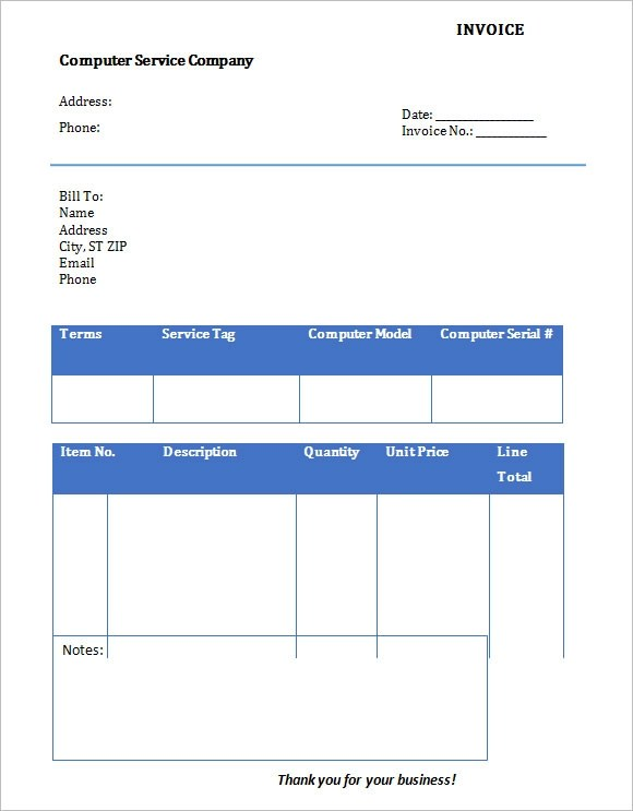 10 Service Invoice Templates \u2013 Free Samples, Examples  Format - service invoice