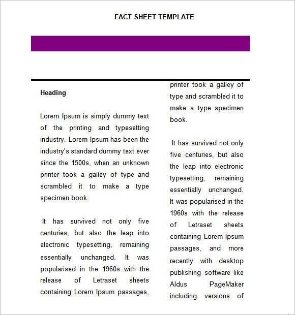 Fact Sheet Template u2013 8+ Download Documents in PDF , Word - meeting sign in sheet templates