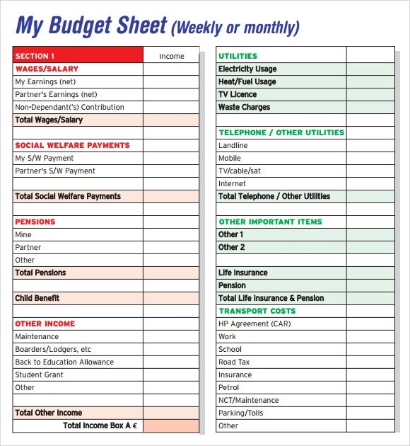 Budget Sheet Template - 7+ Free Samples , Examples , Format
