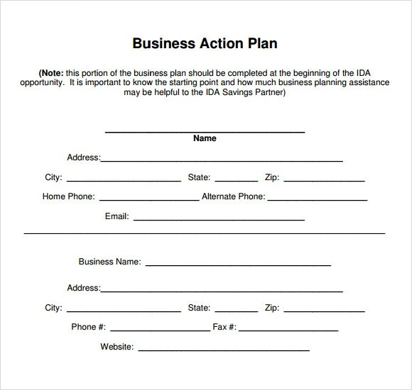 8+ Business Action Plan Samples Sample Templates