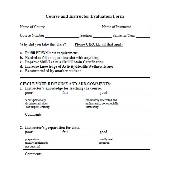 6+ Sample Instructor Evaluation Forms Sample Templates - sample class evaluation