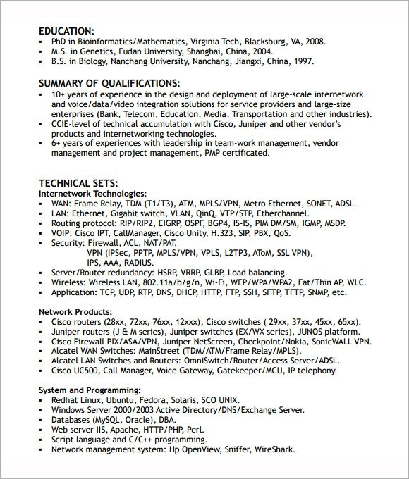 9 Network Engineer Resume Templates \u2013 Free Samples , Examples - network engineer resume format