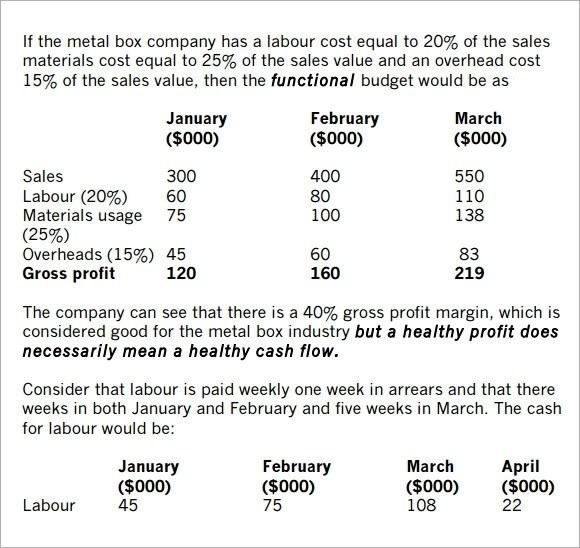 Sample Sales Budget \u2013 5+ Example, Format