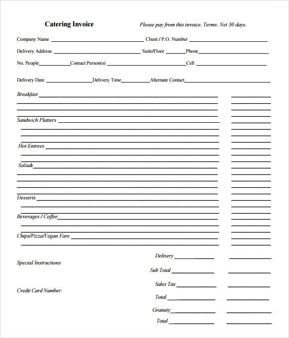 11 Catering Invoice Templates \u2013 Free Samples, Examples  Format