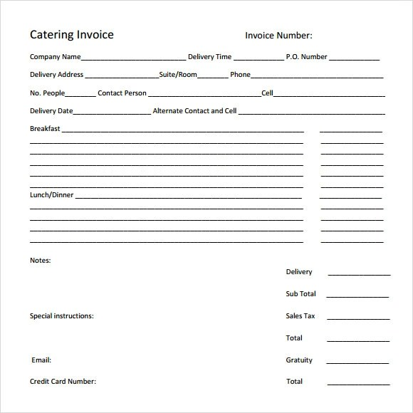 11 Catering Invoice Templates \u2013 Free Samples, Examples  Format - catering invoice example