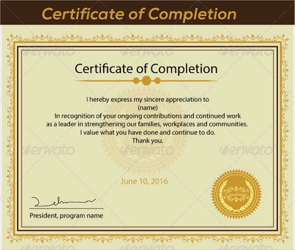 Sample Certificate of Completion - 25+ Documents in Vector EPS, PSD