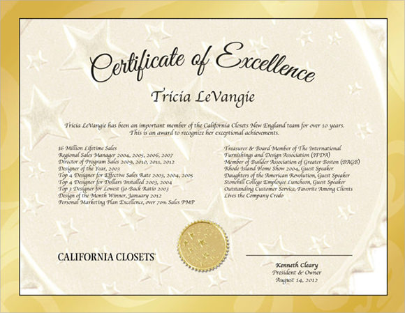 certificate of excellence sample - Ozilalmanoof - certificate of excellence template word