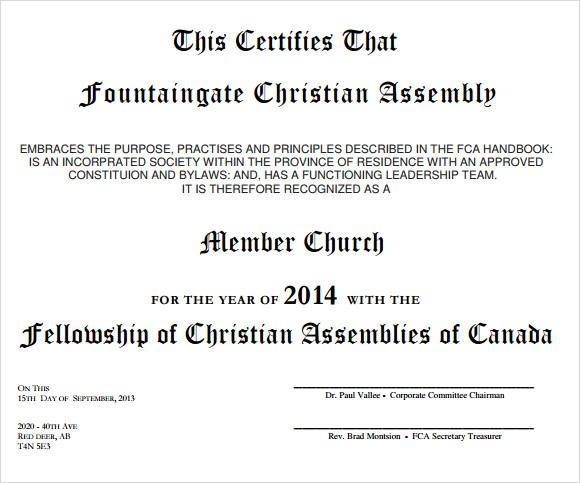 Church bylaws template node2003 cvresumeasprovider membership certificate template 15 free sample example format church bylaws template yadclub Images