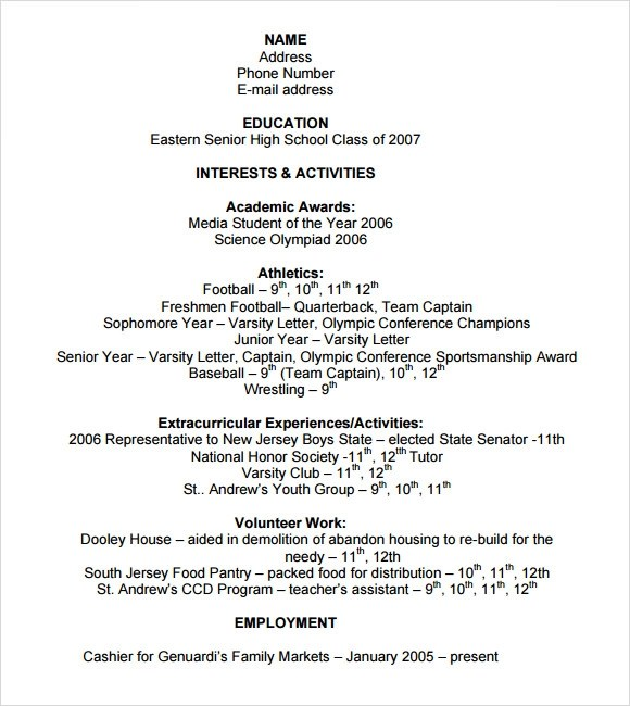 Sample College Resume - 8+ Free Samples, Examples, Format - college application resume format