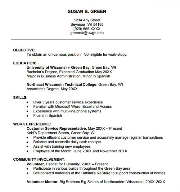 Resume Templates For College Students For Microsoft Word | Sample