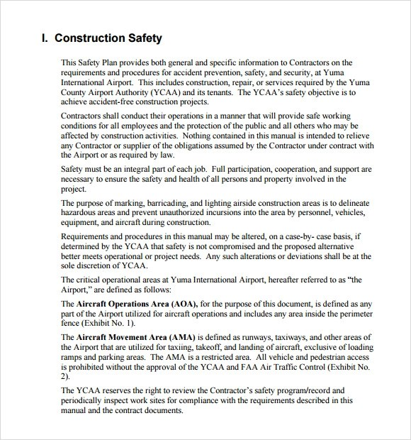 11 Safety Plan Templates \u2013 Free Samples, Examples  Format Sample - sample safety manual template