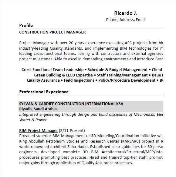 construction manager resume sample pdf