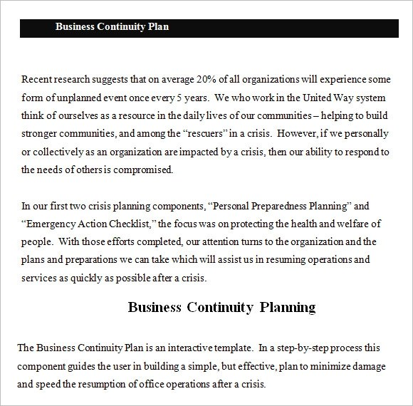 Business Continuity Plan Sample Business Continuity Plan Template – 13 Free