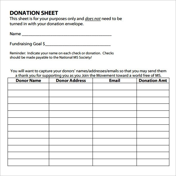 10+ Sample Donation Sheets Sample Templates - donor list template