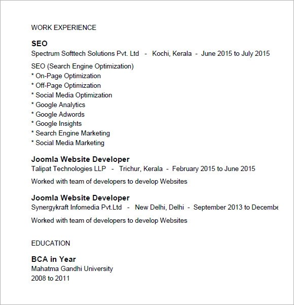 7 SEO Resume Templates \u2013 Samples , Examples  Format Sample Templates