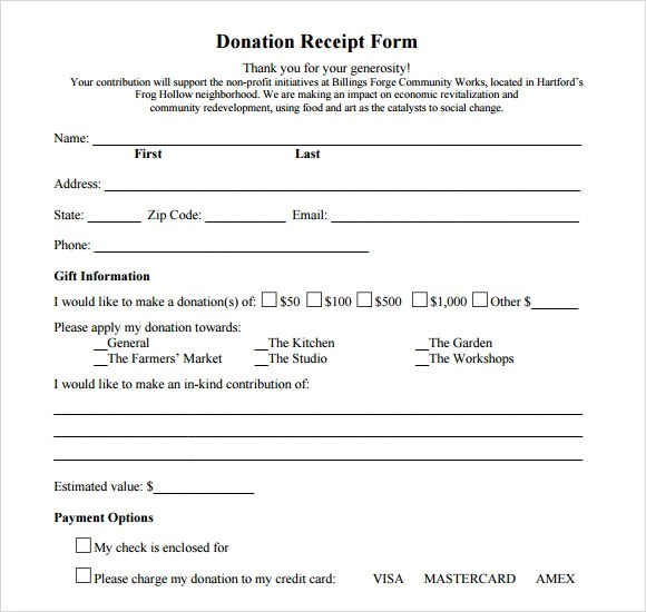 Donation Receipt Form Template - Donation Form Templates