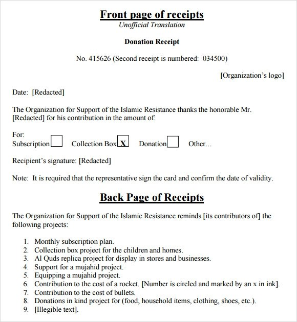 10 Donation Receipt Templates \u2013 Free Samples, Examples  Format - collection receipt template