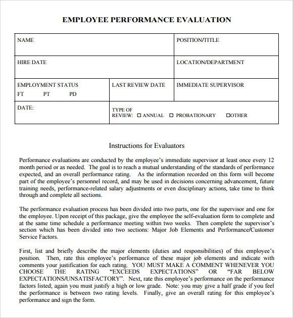Performance Sample Evaluation Employee Performance Review Hr - job performance evaluation form templates