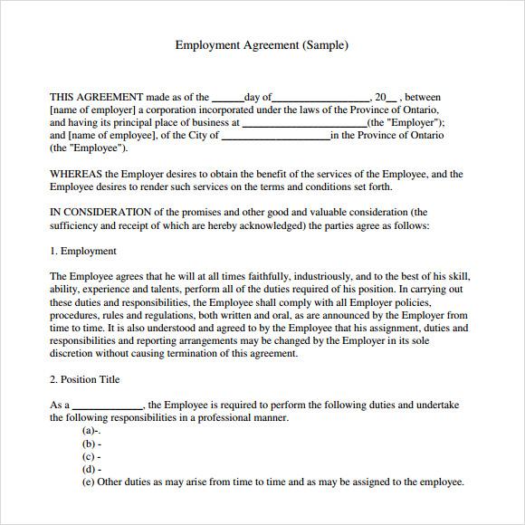 9+ Sample Employment Agreements Sample Templates