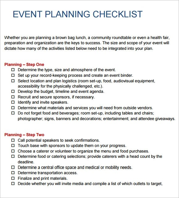 15+ Event Planning Checklist Templates - Free Sample, Example, Format