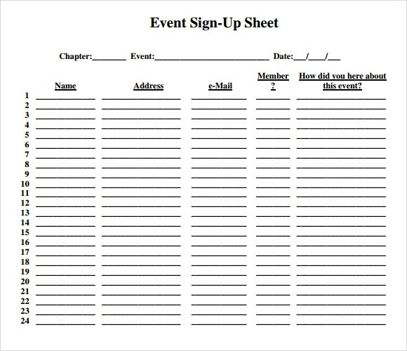 Sample Sign Up Sheet - 13+ Example, Format