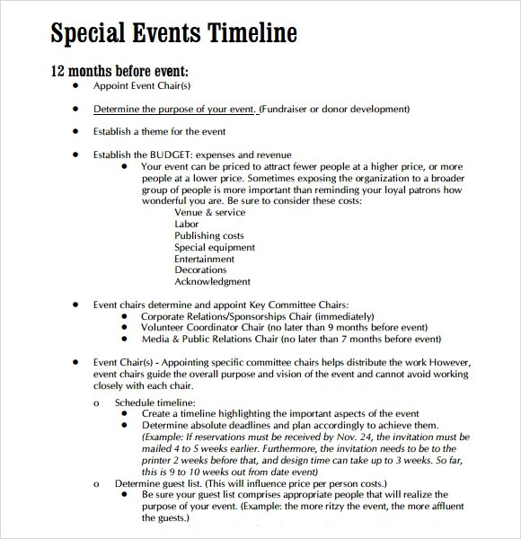Sample Event Timeline - 8+ Documents in PDF, Word - sample budget timeline