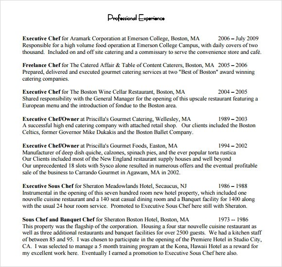 Gallery of Executive Chef Resume Examples