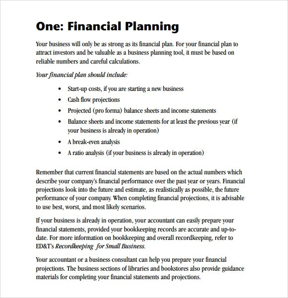 6+ Sample Financial Business Plan Templates Sample Templates