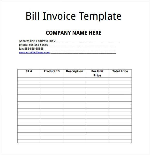 free billing invoice template microsoft word