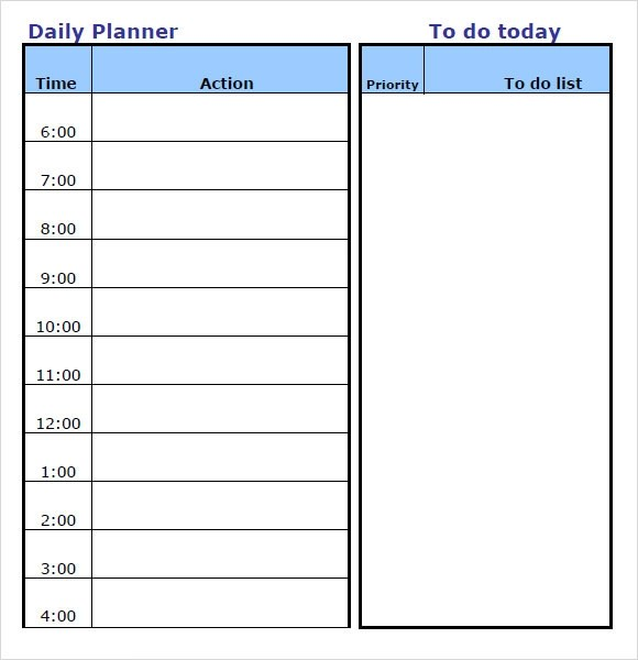 Daily Planner Template - 10+ Free Samples , Examples , Format