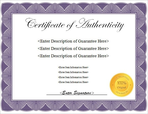 Certificate Of Authenticity Template Free Certificate Of - free printable editable certificates