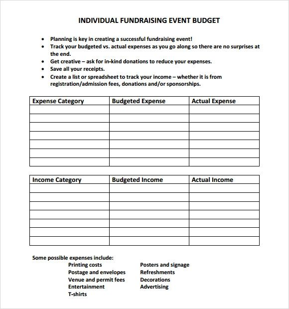 fundraising templates excel