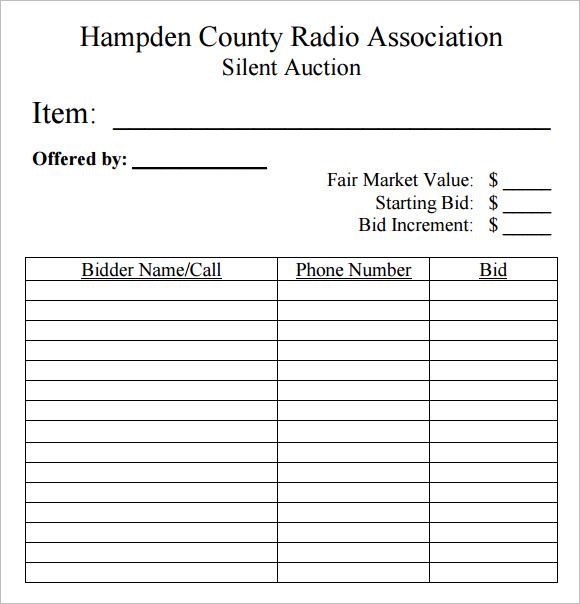 bid sheet templates - gerardradio - bid format