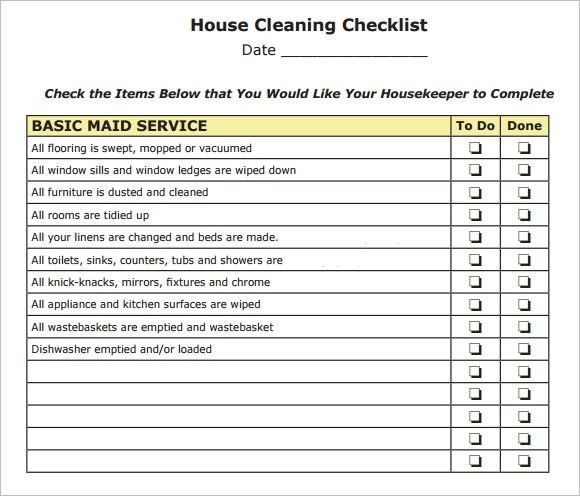 10+ House Cleaning Checklist Samples Sample Templates - Sample Spring Cleaning Checklist