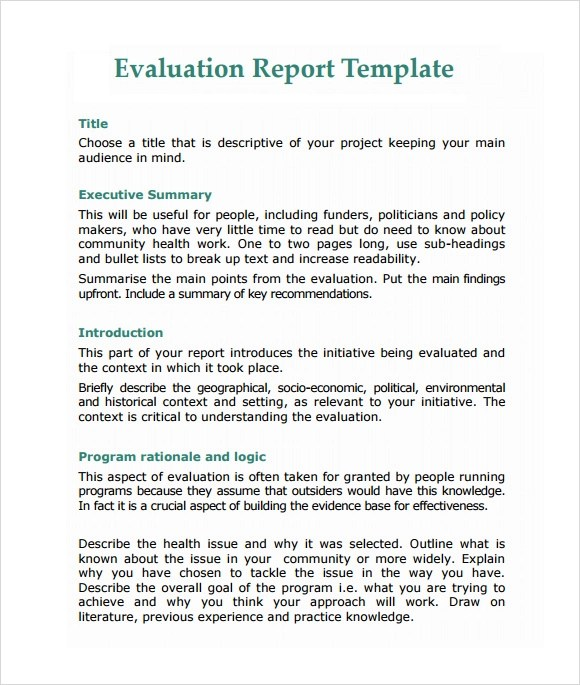 Sample Evaluation Report - 11+ Documents in PDF, Word - project report template word