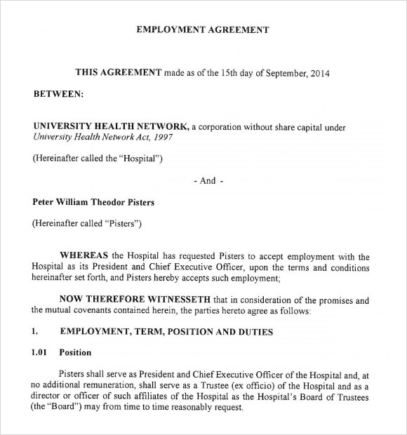 9+ Sample Employment Agreements Sample Templates