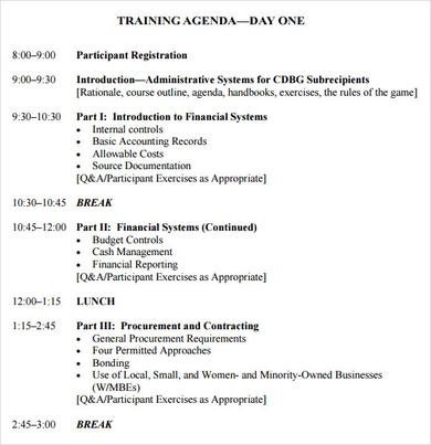 training agenda format - Eczasolinf - sample training agenda