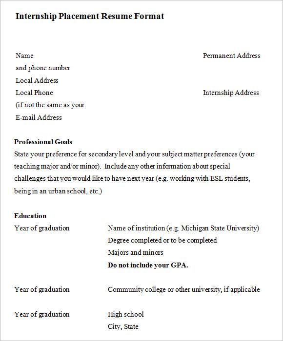 10 Internship Resume Templates \u2013 Free Samples , Examples  Format - it internship resume sample
