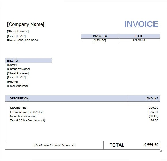 10 Basic Invoice Templates \u2013 Free Samples, Examples  Format